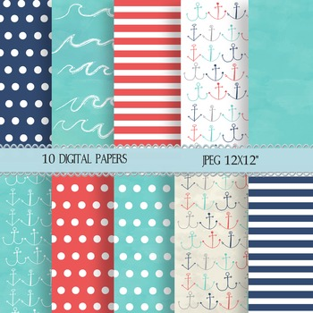 Ten Digital, Nautical Paper for Power points, Backgrounds,