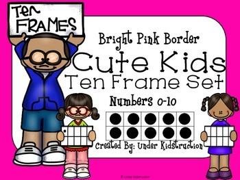 Ten Frame (0-10); Bright Pink Cute Kids Ten Frame