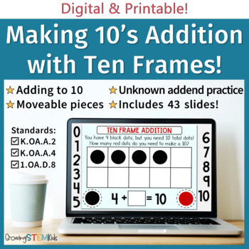 Ten Frame Addition with Missing Addend Charts