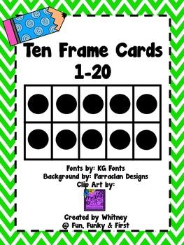 Ten Frame Cards 1-20  - Lime Green Chevron