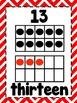 Ten Frame Cards 1-20  - Red Chevron