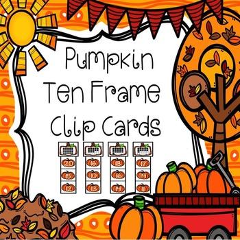 Ten Frame Clip Cards ( Pumpkin Theme Numbers 0-20)