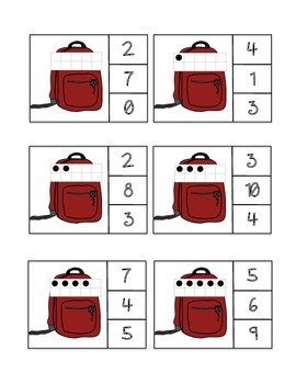 Ten Frame Count and Clip - Bookbags/Back to School
