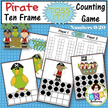 Ten Frame Counting Game - Pirate Themed Toss It! Card Game