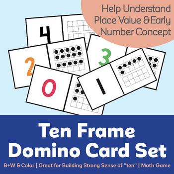 Ten Frame Domino Card Set (0-20) (Color + Black & White)