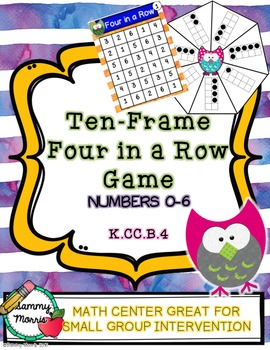 Ten-Frame Four In A Row Game (Numbers 0-6)