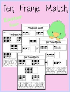 Ten Frame Match - Easter Eggs