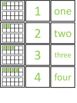 Ten Frame Matching Numbers to 20