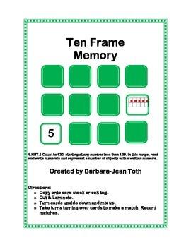 Ten Frame Memory Game