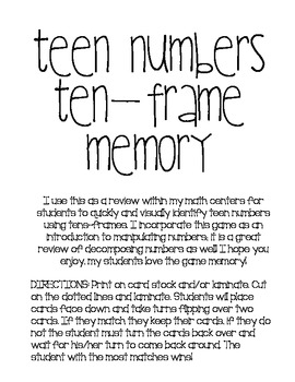 Ten-Frame Memory: Teen Numbers