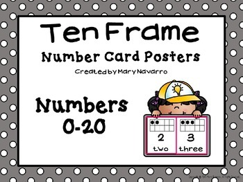 Ten Frame Number Card Posters 0-20 Gray and White Polka Dots