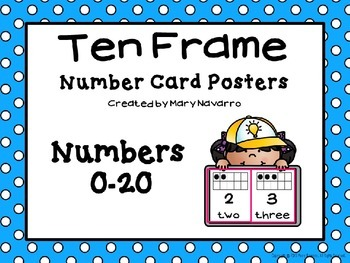 Ten Frame Number Card Posters 0-20 Teal and White Polka Dots