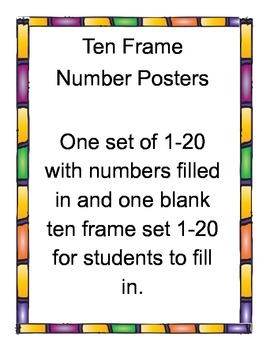 Ten Frame Number Posters 1-20