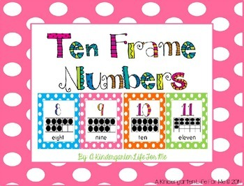 Ten Frame Numbers - Polka Dot Style