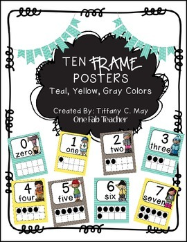 Ten Frame Posters Melonheadz Style (Teal, Yellow, Gray)