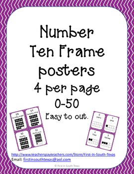 Ten Frame Posters - Small Purple