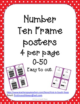 Ten Frame Posters - Small red