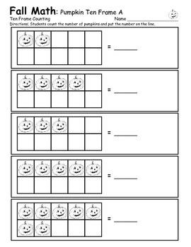 Ten Frame - Pumpkin Counting Practice - Common Core