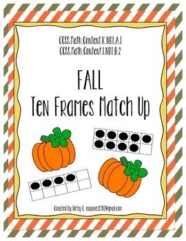 Ten Frame Pumpkin Match Up