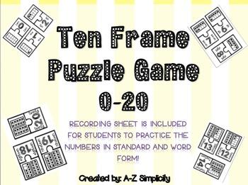 Ten Frame Puzzle Game! + Recording Sheet 0-20
