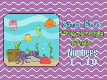 Ten Frame Sea Fun Playdough Counting Mat Numbers 1 - 10