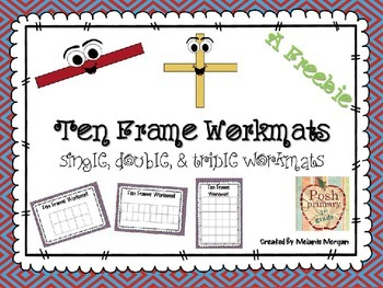 Half-Page Ten Frame Workmats: single, double, triple