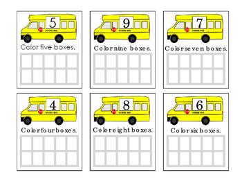 Ten Frames Bus Math Numbers 4 5 6 7 8 9 Fun Stuff Coloring