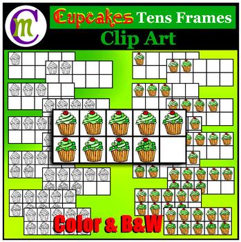 Ten Frames Clip Art Cupcakes