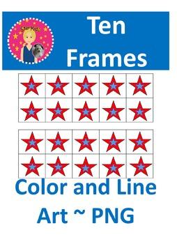 Ten Frames Clipart - Memorial/Veterans/Presidents Day  {CO