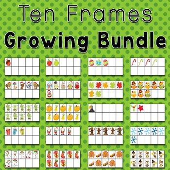 Ten Frames Growing Bundle - Fall, Halloween, Thanksgiving,