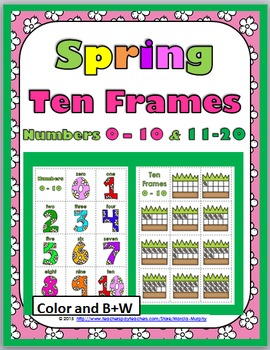 Ten Frames Matching Game - Spring Theme Numbers 1-10 & 11-