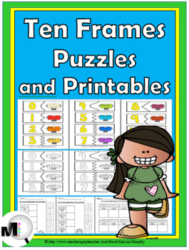 Ten Frames Self-Correcting Number Puzzles and Printables N