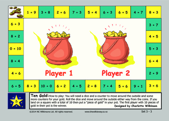 Ten Gold Game to practice addition facts to ten