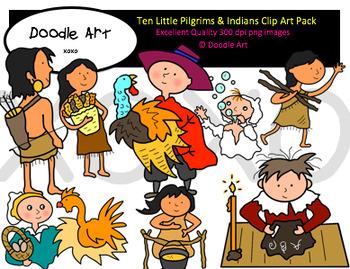 Ten Little Pilgrims and Indians Clipart Pack