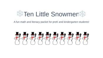 Ten Little Snowmen Literacy and Math Packet
