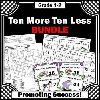 Ten More Ten Less BUNDLE of Activities Task Cards Foldable