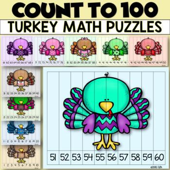 FREEBIE Ten Pilgrim, Turkey and Thanksgiving Puzzles 1-100