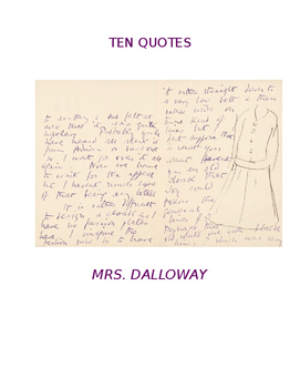 Ten Quotes:  MRS. DALLOWAY