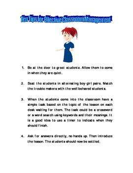 Ten Tips for Effective Classroom Management