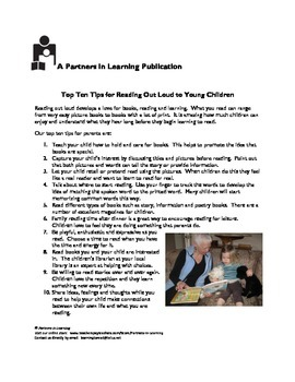 Ten Top Tips for Reading Out Loud to Young Children