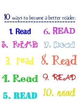 Ten Ways to Become a Better Reader Poster