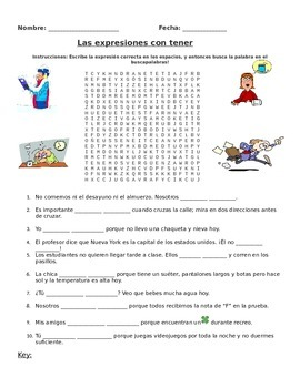 Tener Expressions Word Search