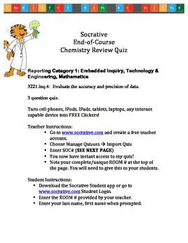 Tennessee Chemistry End-of-Course Test Socrative Review Qu
