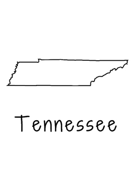 Tennessee Map Coloring Page Activity - Lots of Room for No