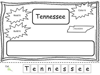 Tennessee Read it, Build it, Color it Learn the States pre