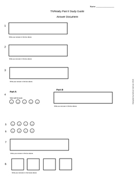 Tennessee Ready Math Practice Test ANSWER DOCUMENT 4th Gra