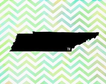 Tennessee Chevron State Map Class Decor, Classroom Decoration