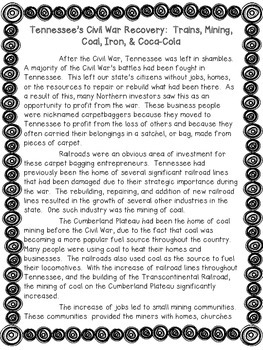 Tennessee's Recovery after the Civil War Non Fiction Passa