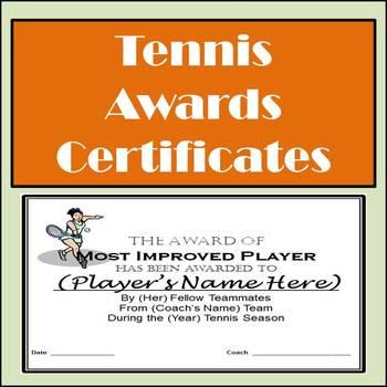 Tennis Awards Certificates - Boys & Girls - 9 Awards and N