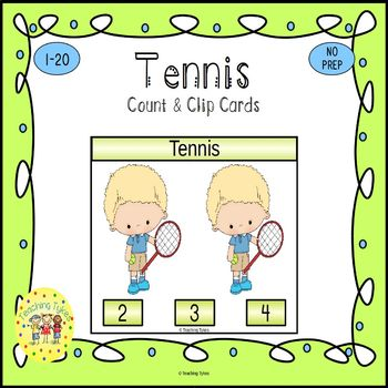 Tennis Count and Clip Sports Task Cards